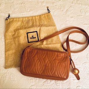 Vtg FENDI Quilted Camel Tan Leather Crossbody Bag